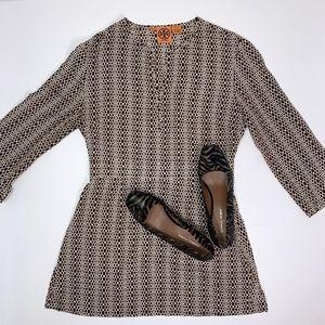 TORY BURCH Brown Hexagon Graphic Silk Mini Dress 8